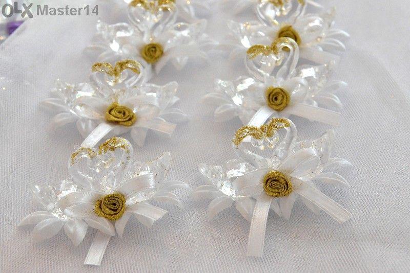 """Сватбени подаръци за гостите """"лебеди"""" с табелки """"сърца"""" с имената на м"""