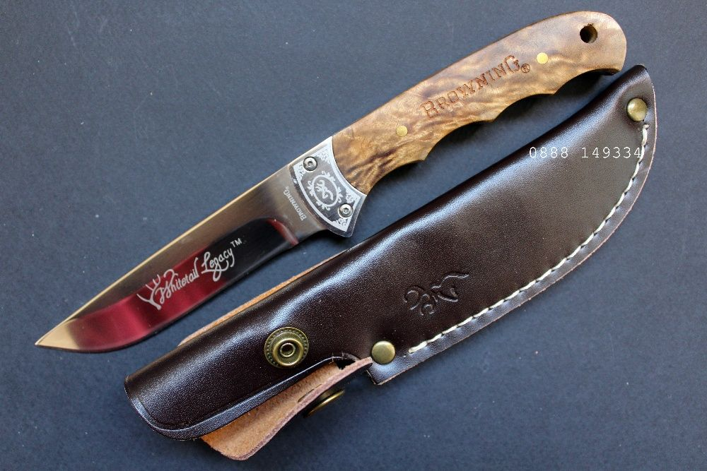 Ловджийски Ловен нож с кожена кания loven noj ловен нож Full Tang