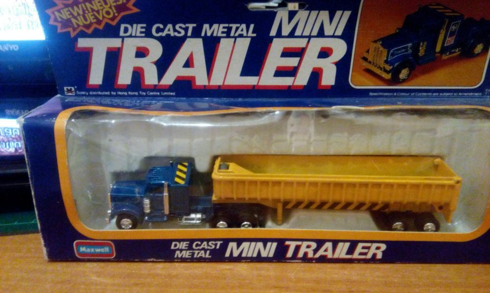 Camion mini trailer din metal scara 1:128