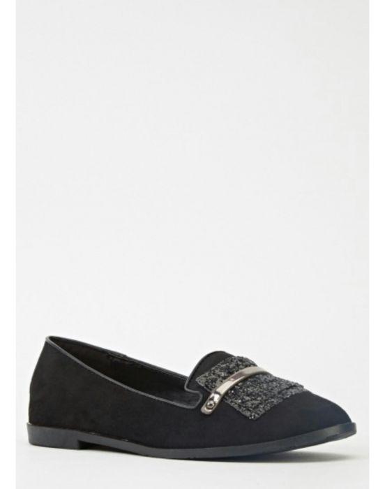 Balerini dama loafers noi negru eleganti