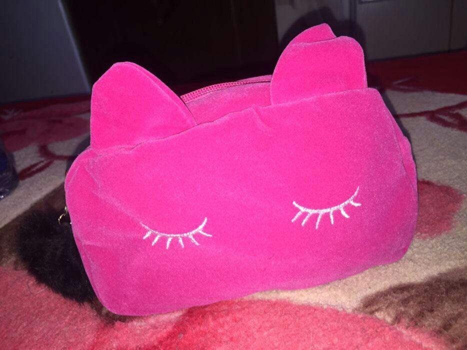 Portfard/Penar cu model pisica,negru,roz sau bleu