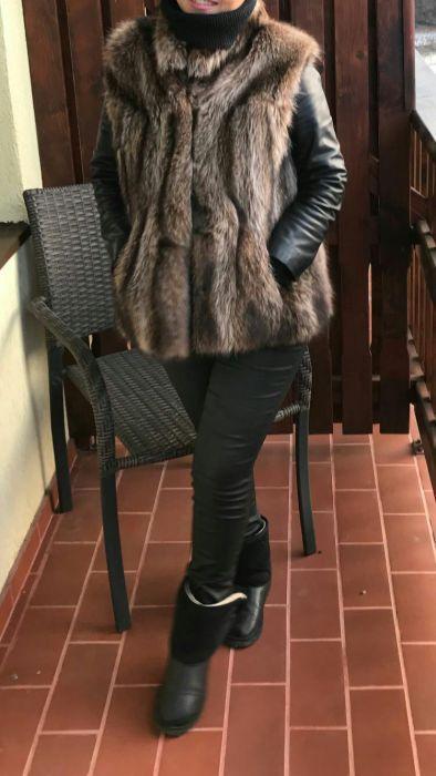 Vesta blana vulpe (bucata intreaga)