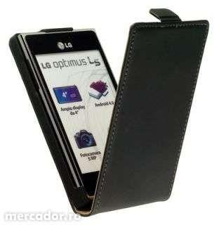 Husa Eleganta TOC FLIP Piele Negru LG Optimus L5 E610 + Folie