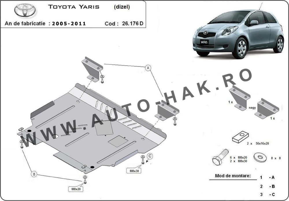 Scut motor metalic Toyota Yaris diesel 2005-2011- otel 2mm
