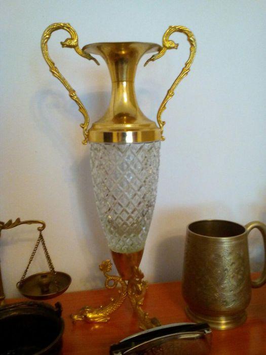 Carafă /vază/ vas cristal cu alamă