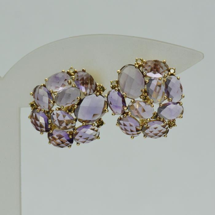 Cercei din aur galben cu diamante si ametiste (cod 3213)