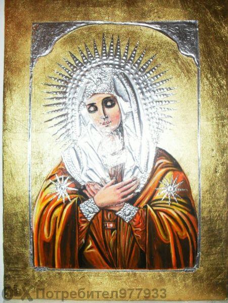 Икона на дева Мария,рисувана по канона,осветена