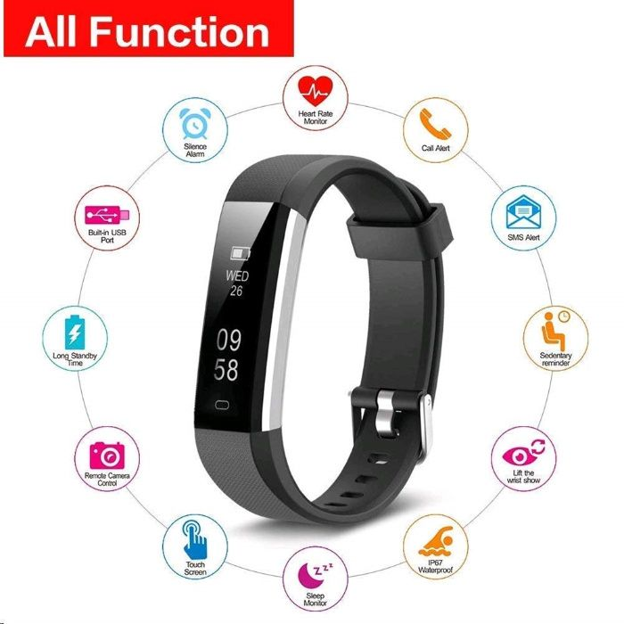 Smart Band. Kingsky Fitness Trackers HR, GPS, Pedometru, Alarma,