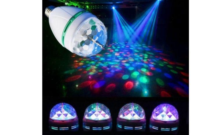 Cadou ideal Craciun bec cu cap rotativ disco LED multicolor 3w SIGILAT