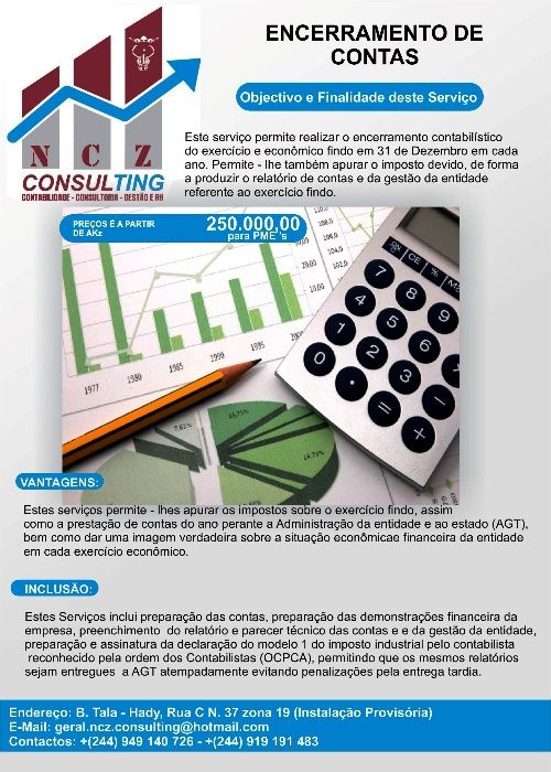 Serviços de Contabilidade e Fecho anual das Contas