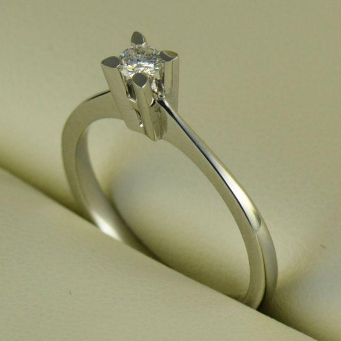 Inel din aur alb cu diamant (logodna) (cod 735)