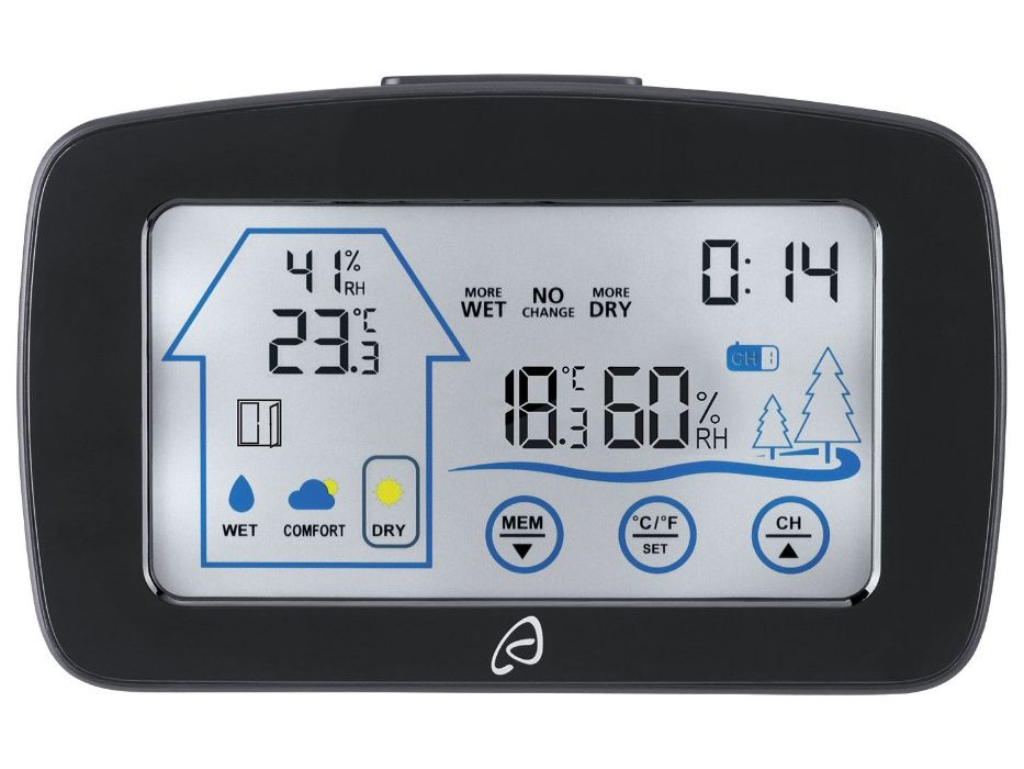STATIE METEO cu touchscreen, HIGROMETRU + termometru interior-exterior