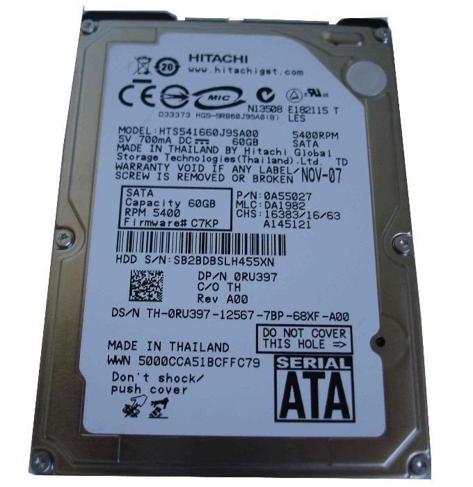Hard disk SATA Laptop HDD 60Gb Status: Perfect!