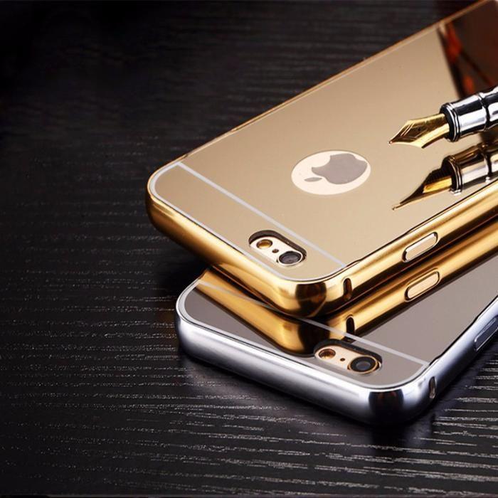 Огледален алуминиев бъмпер кейс за IPhone 7, 7 Plus, 8, 5, SE, 6, 6S,