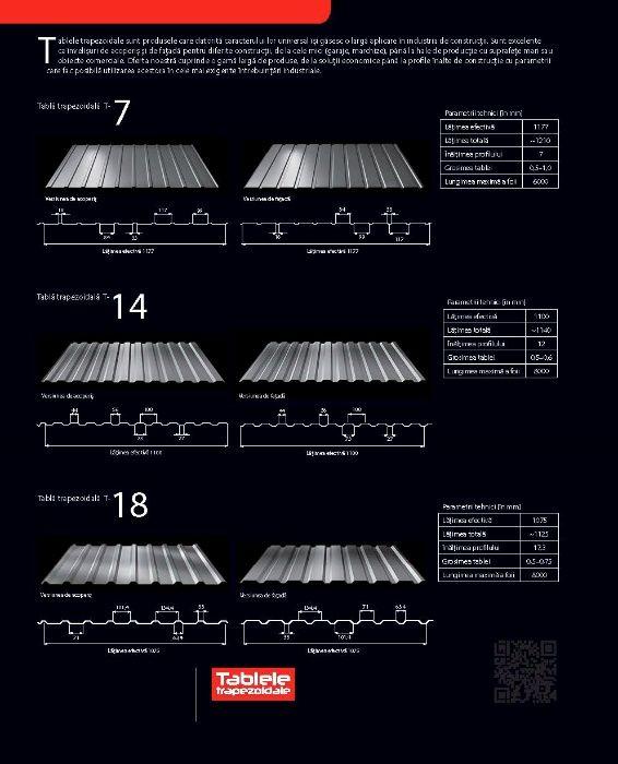 Tabla cutată T35 , T45, T 55 cu folie anticondens pentru Hale Metalice