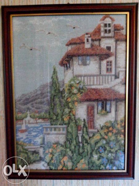Продавам гоблен ''къща край езерото''150лв.