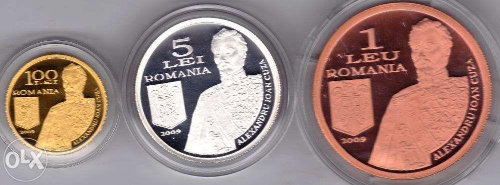 BNR 2009 set monede aur+argint+tombac 150 ani dela inf.Statului Major