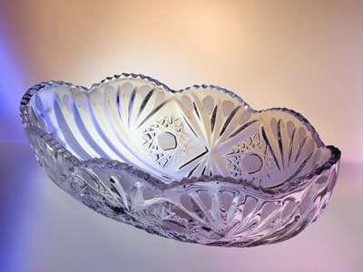"""Хрустальный салатник из бесцветного хрусталя """"Ладья"""", 22 см"""