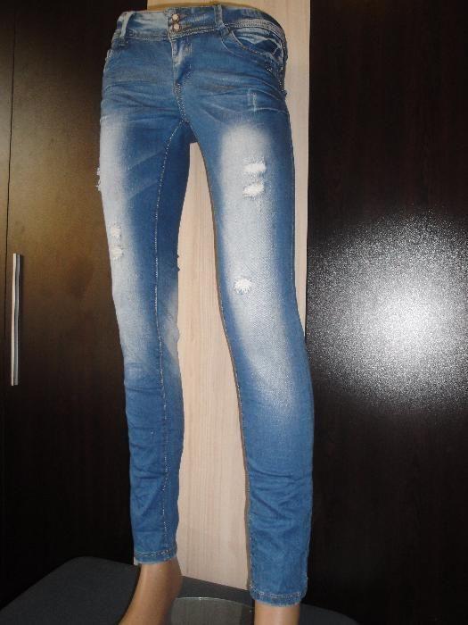 Нови сини дамски дънки, с кръпки, джинси, дънков панталон, панталони