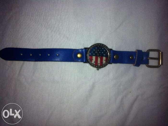 ceas vintage fashion unisex albastru, steag SUA, curea piele vaca, mec