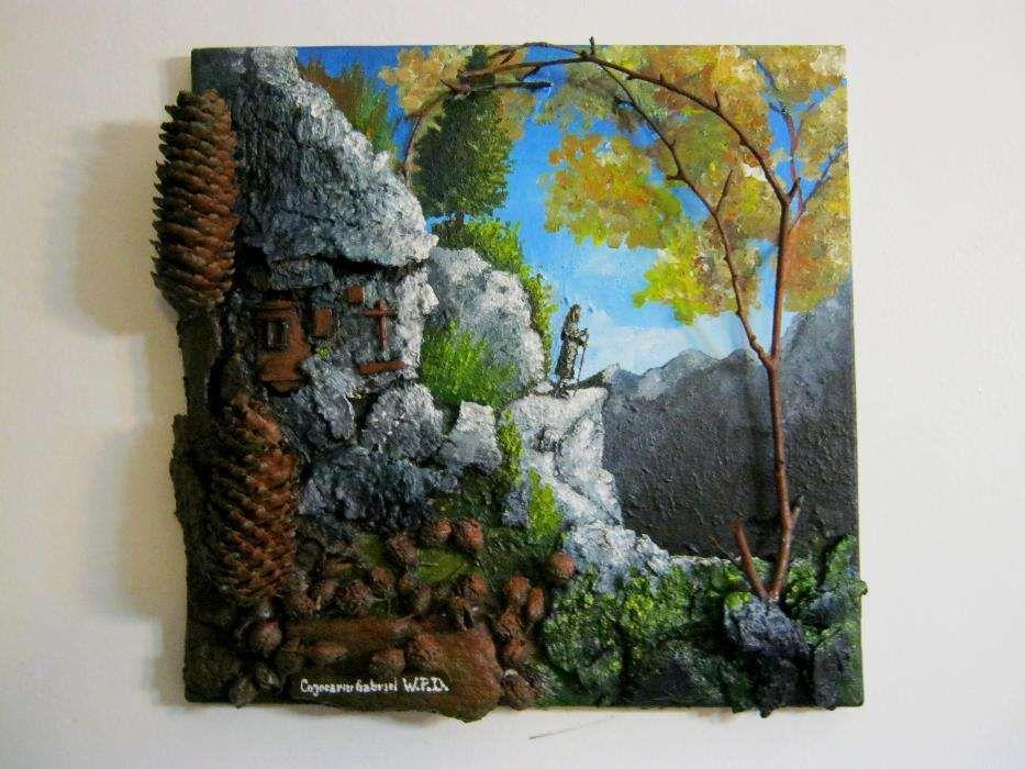 pustnicul, tablou 3D, pictura, peisaj montan