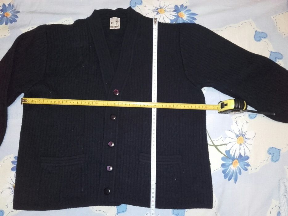 Pulover lana inchidere cu nasturi - bleumarin inchis