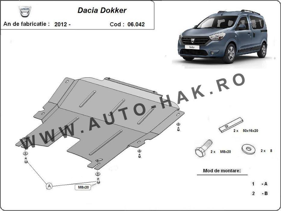Scut motor metalic Dacia Dokker 2012-prezent - otel 2mm