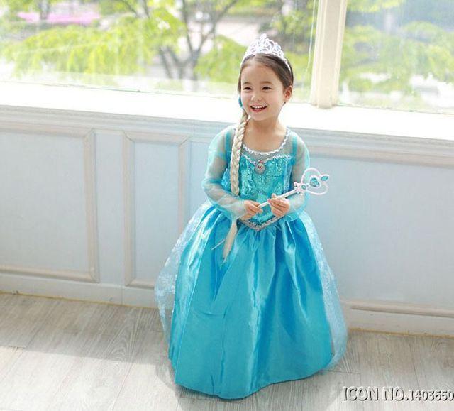 рокля на елза от Фроузън 3/4/5/6г + корона,плитка и жезъл