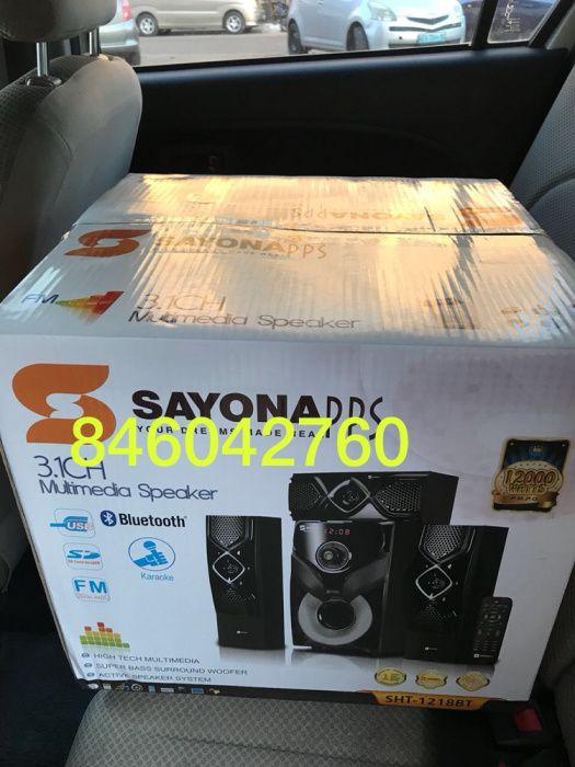 Home theater da marca Sayona : USB , Bluetooth , micro sd . Na caixa
