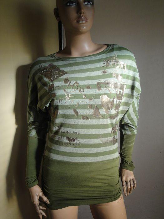 Зелена дамска туника / блуза с дълъг ръкав, къса рокля, дамски топ