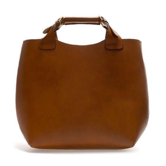 Geanta Zara Shopper, oversized, din piele naturala groasa, maro camel