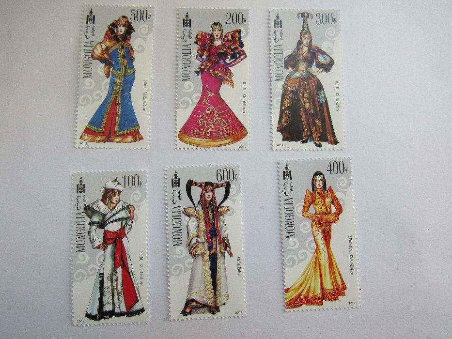 Сет 6 марки Монголски модерни национални костюм,ново,2012 г.