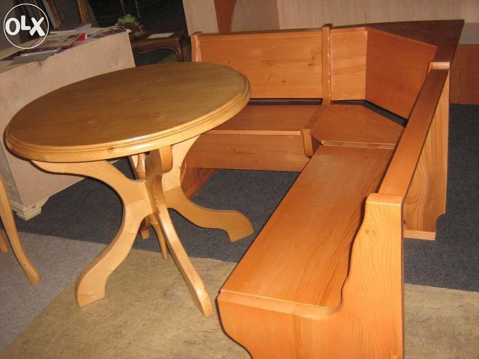bancheta colt cu masa rotunda, lemn masiv