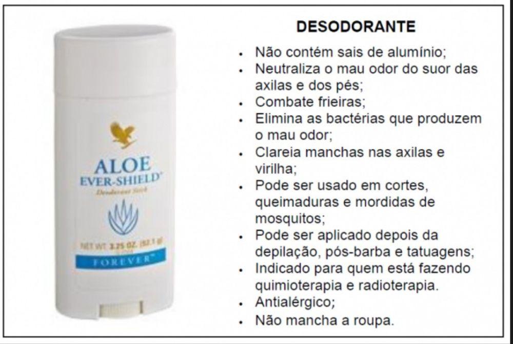 Aloe Ever-Shield, Desodorante poderoso, clareia axilas, previne cancro