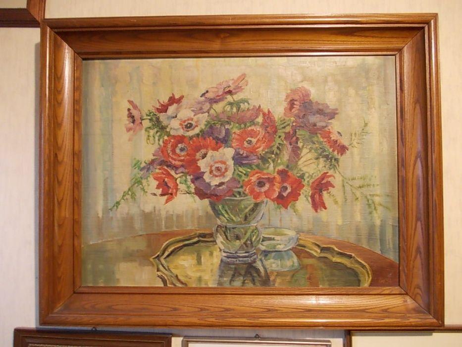 Tablou pictura in ulei cu rama masiva din lemn