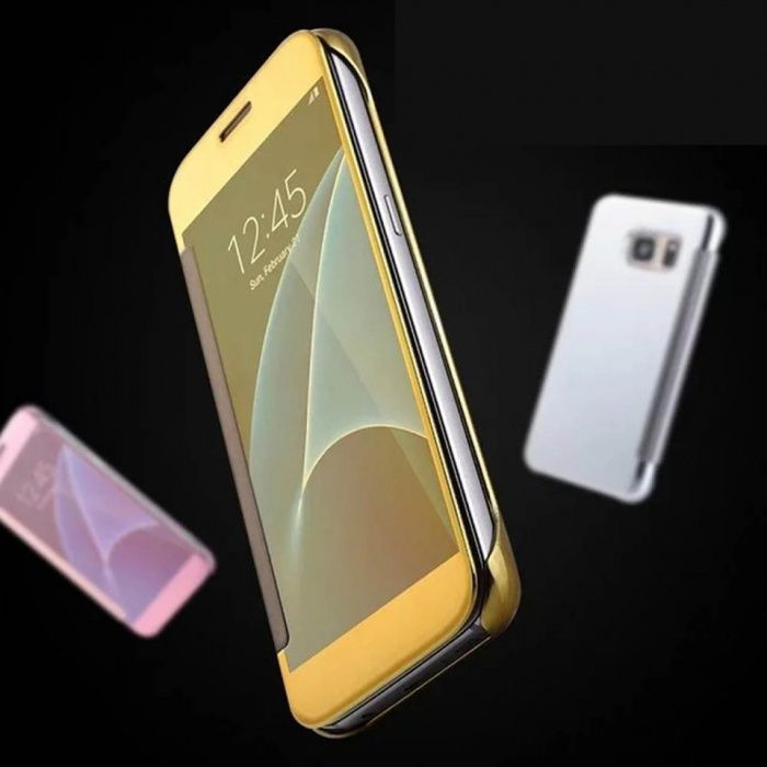 Husa clear view samsung s7 / s7 edge gold black silver roz