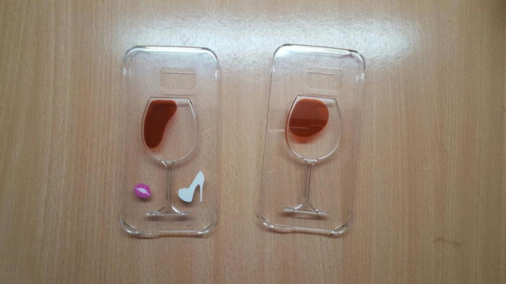 Husa Samsung Galaxy s6 Edge lichid pahar vin rosu