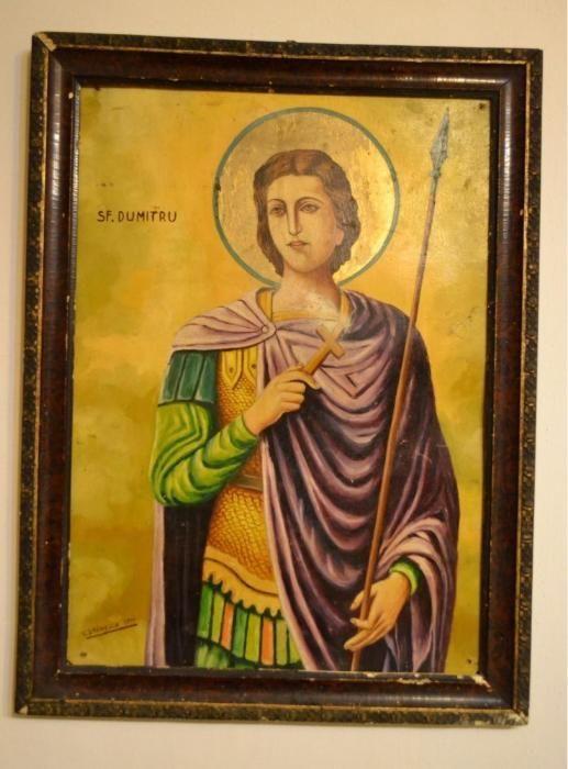 Icoana veche pictata - Sfantul Dumitru - 1940 / Icoana pictata datata