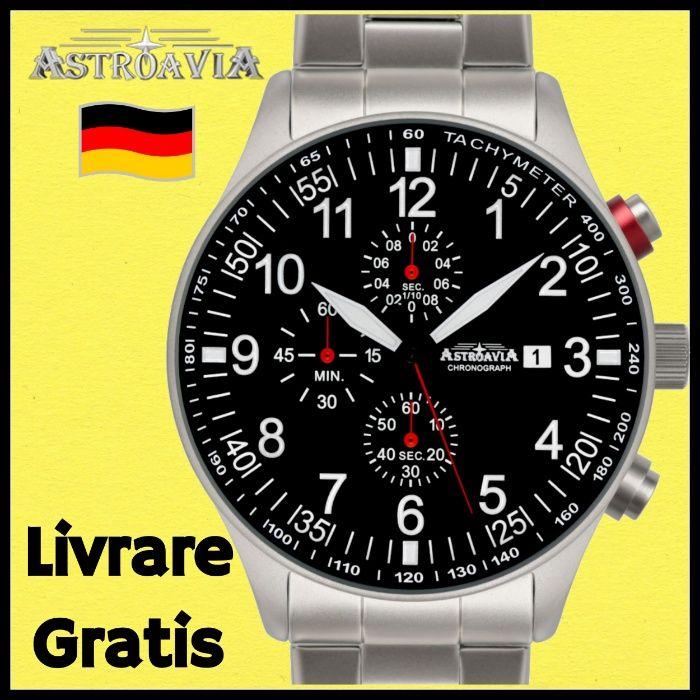 Ceas AVIATOR ASTROAVIA Germany Curea Bratara Otel Fosforescent Barbat
