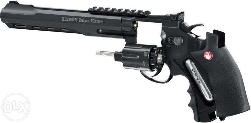 "Revolver FULL METAL RUGER SUPER HAWK 8"" CO2 Puternic - 4 Joules/Black Bucuresti - imagine 5"