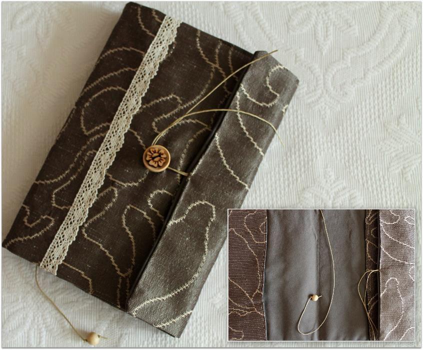 Ръчно шита подвързия за книга, коприна и памук. Прекрасен подарък!