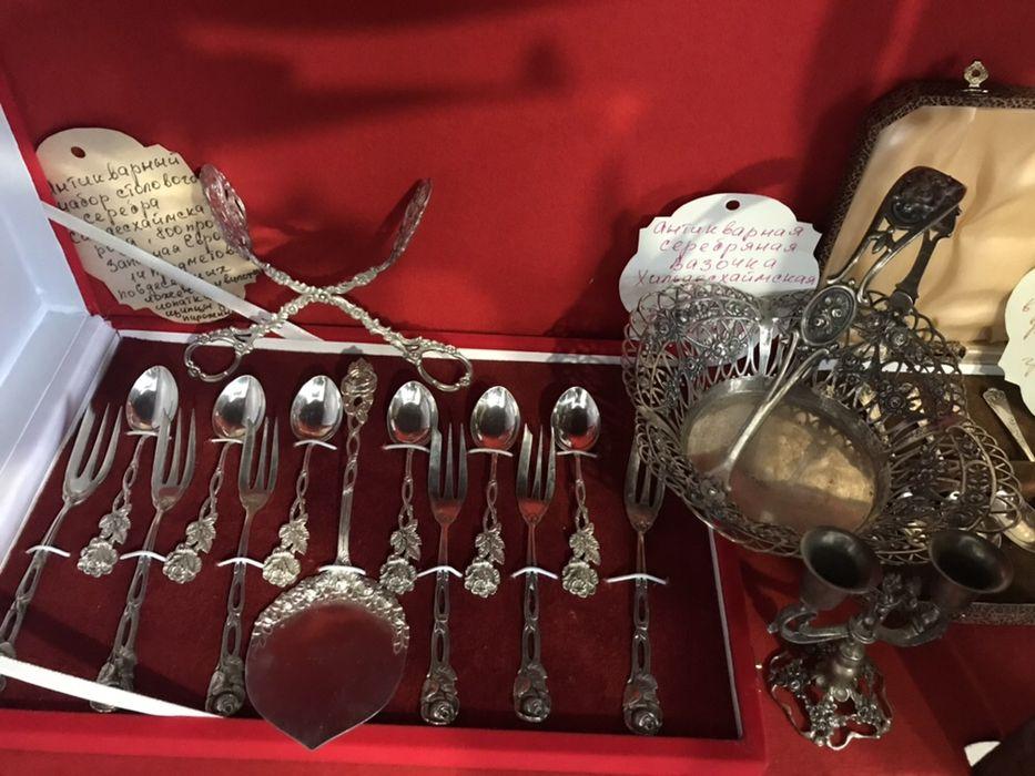 Серебро!Великолепная коллекция антикварных наборов столового серебра!