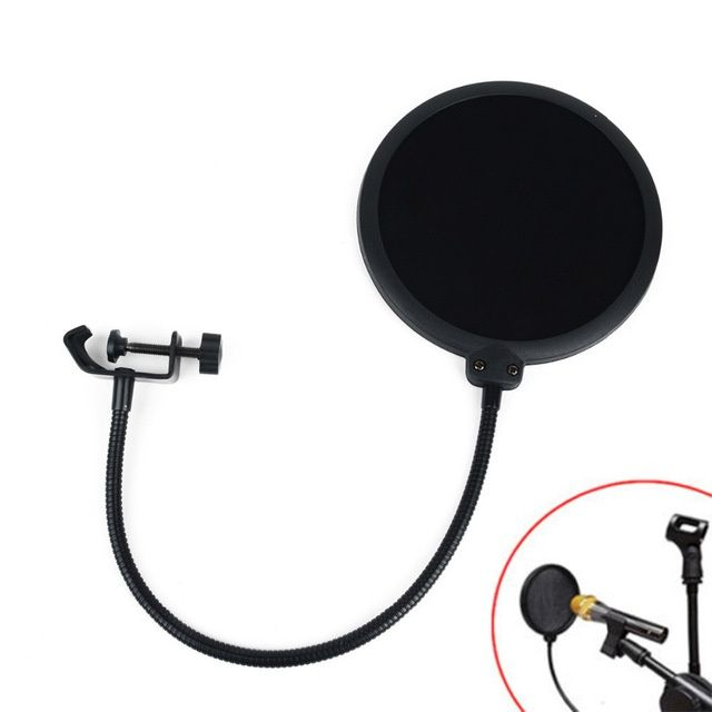 Pop-filtru microfon studio - Pop Filter Wind Screen Black Double Layer