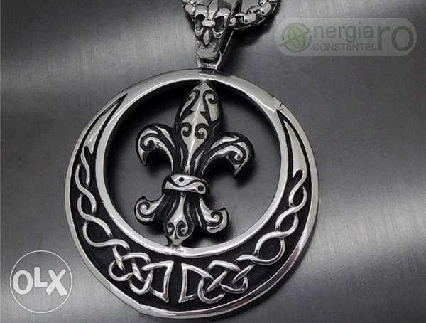 Pandantiv Amuleta Fleur De Lys Lis (Crin Imperial) INOX - cod PND021