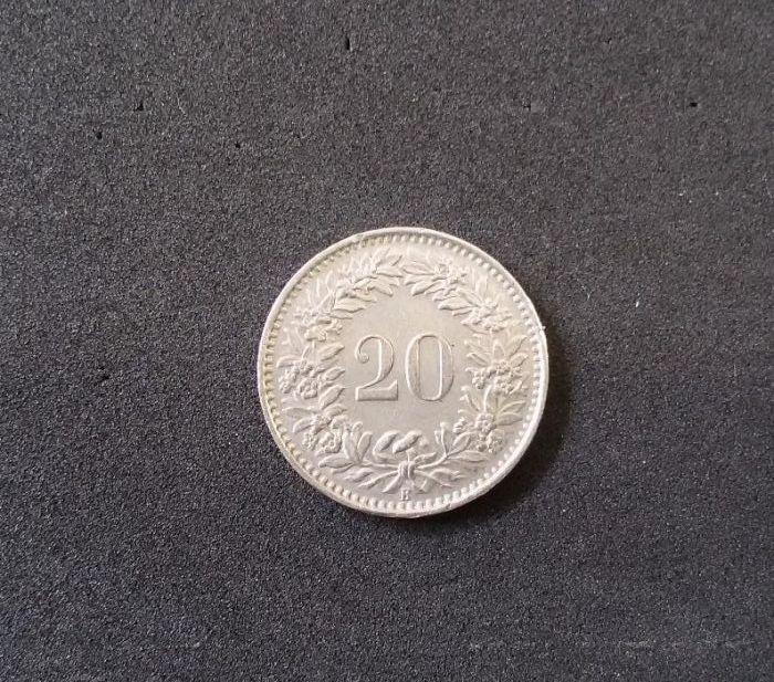 Швейцарски 20 рапена - 1962г.