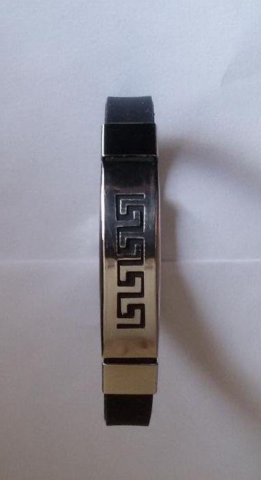 Нова гривна стомана + силикон - черна Versace стил