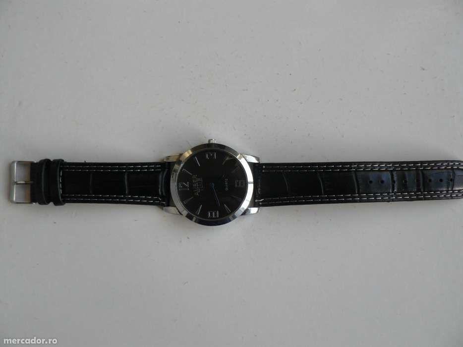"Ceas Barbati ""AMBER TIME"" mecanism quartz,curea piele eco,cadran negru"