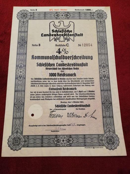 certificat depozit trezorerie nazist, WW2, 1000 Reichsmark, colectie