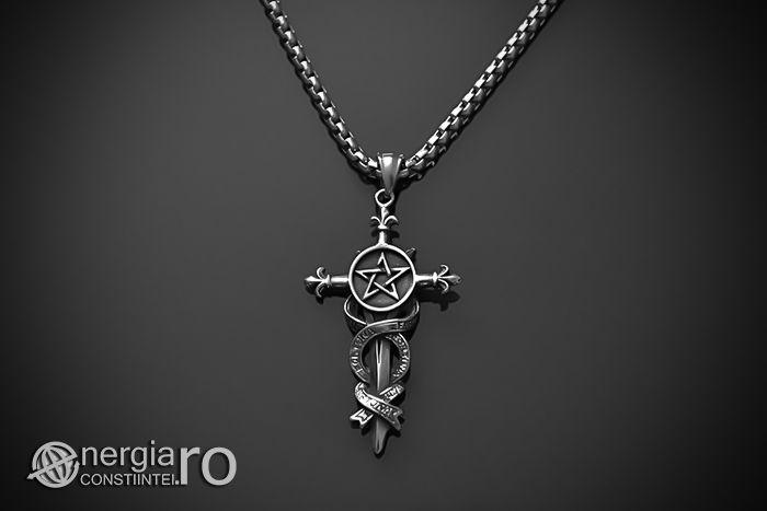 Pandantiv Amuleta Pentaclu Pentagrama pe Pumnal INOX - cod PND034