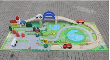 Детски дървен конструктор 40 части с релси,парк,надлез, дървени коли гр. Бургас - image 5